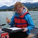 Ella Swan monitoring water quality on Lake Windermere
